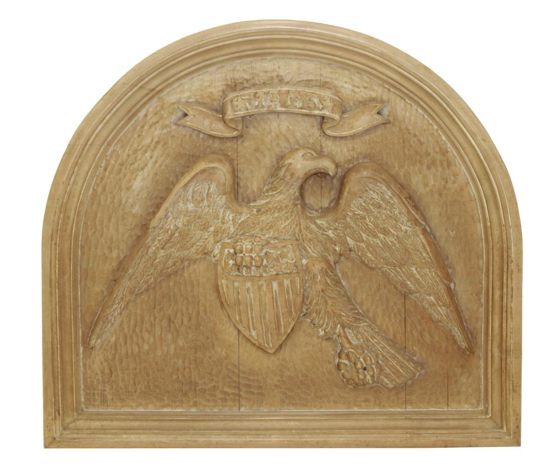 Carved Wooden Eagle Panel