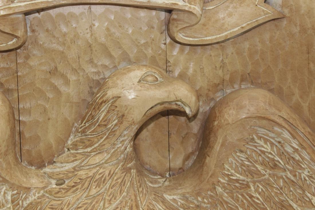Carved Wooden Eagle Panel - 3