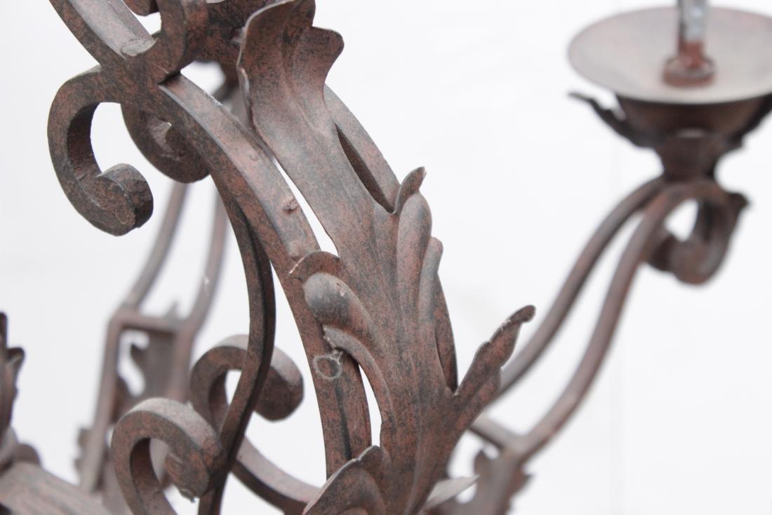 Ten Arm Wrought Iron Chandelier - 4