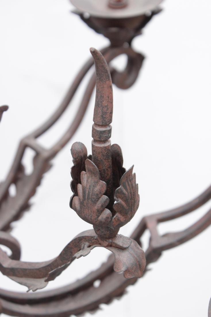Ten Arm Wrought Iron Chandelier - 5