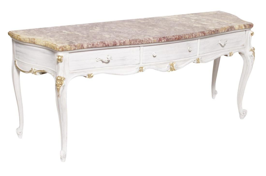 Louis XV Style Antique Painted Marble Top Console