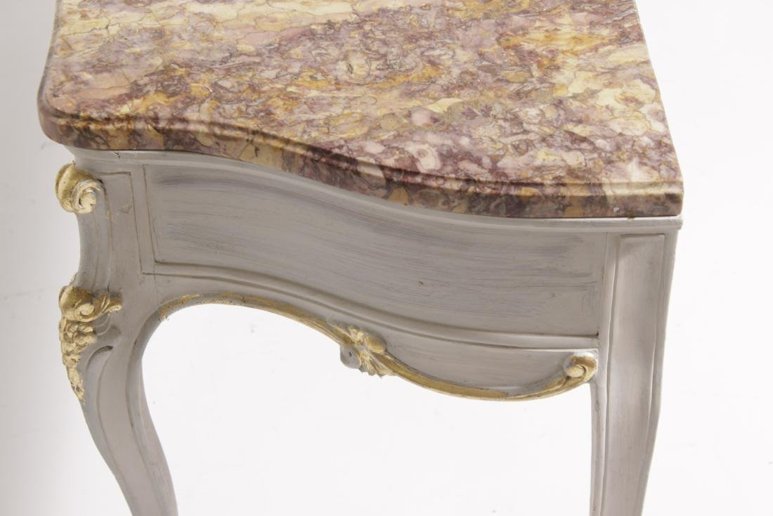 Louis XV Style Antique Painted Marble Top Console - 9