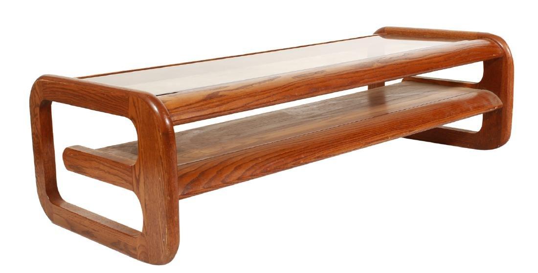 70's Oak Coffee Table, attr Lou Hodges