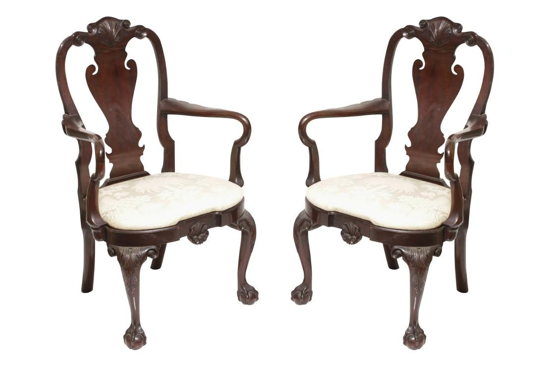 Pair Kindel Queen Anne Style Armchairs