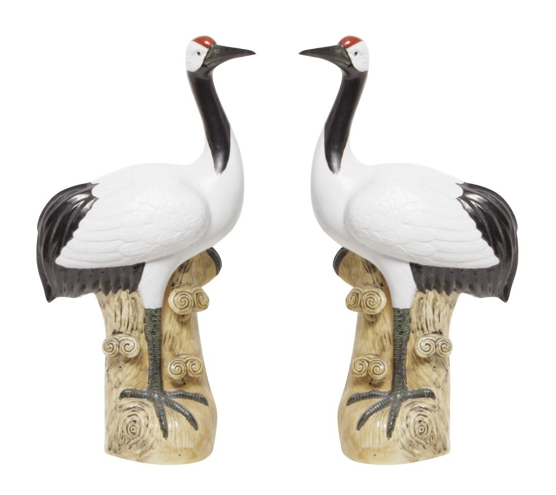 Pair of Chinese  Porcelain Cranes