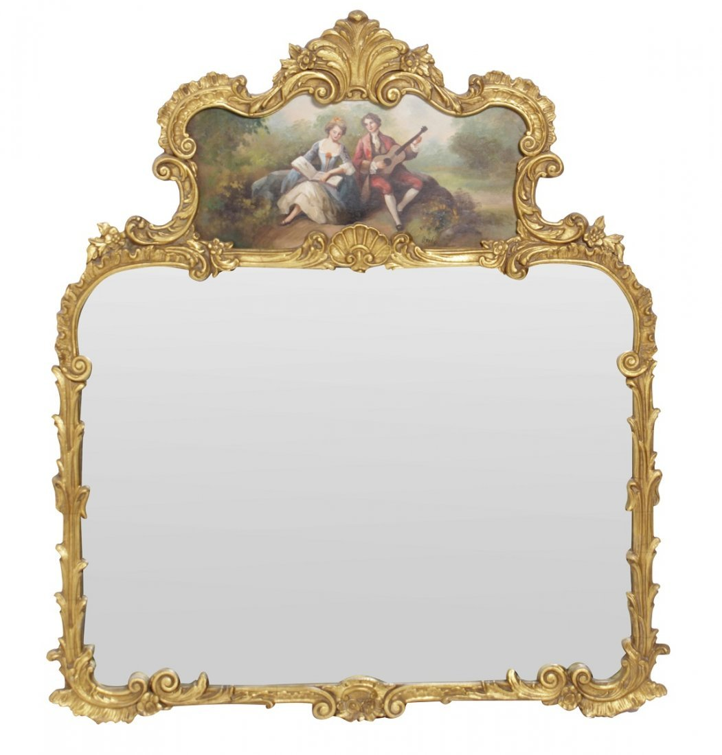 French Mirror With Painted Cartouche