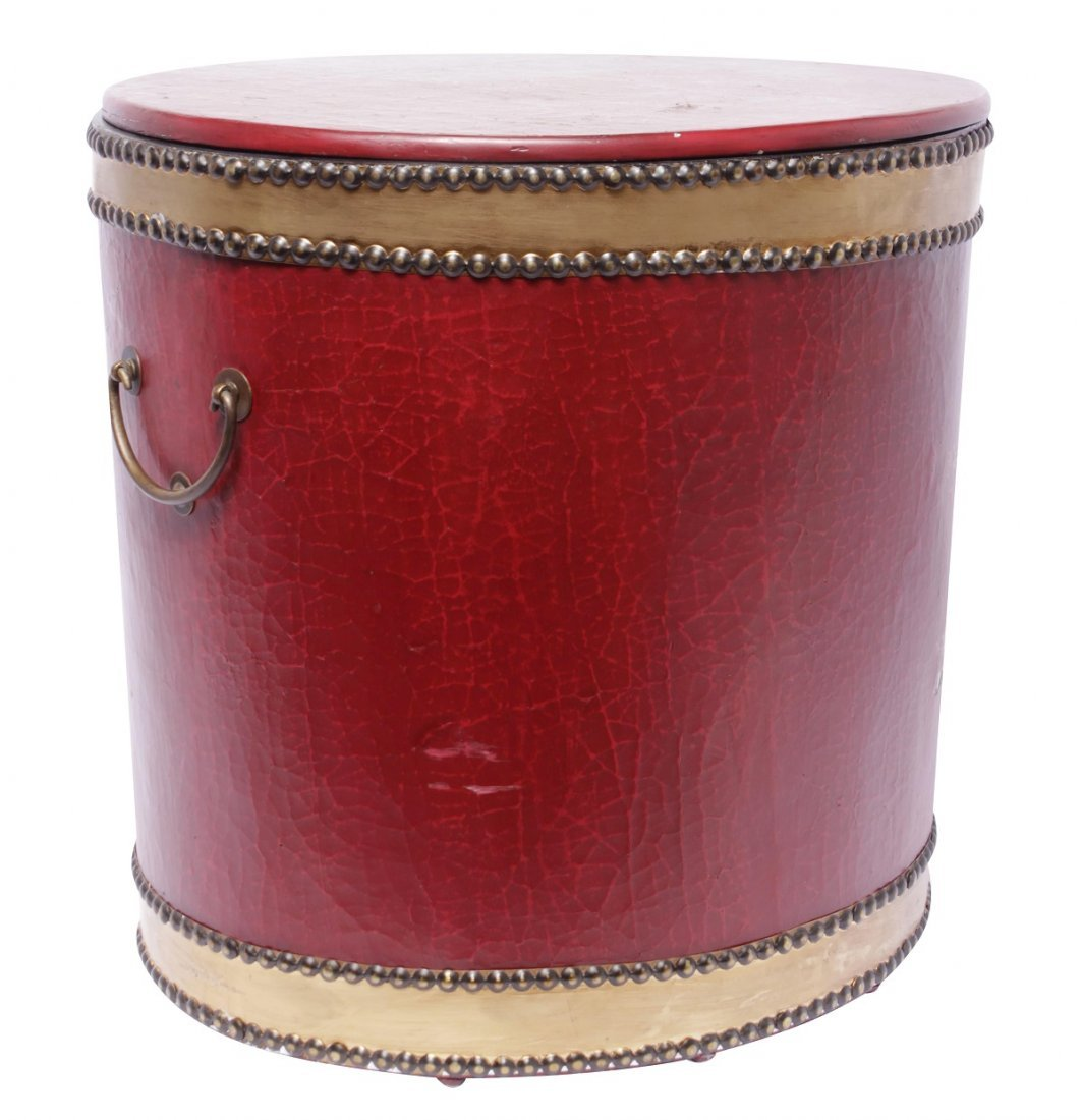 Red Drum Shaped Ottoman