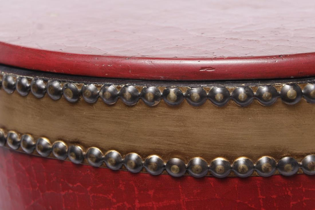 Red Drum Shaped Ottoman - 2
