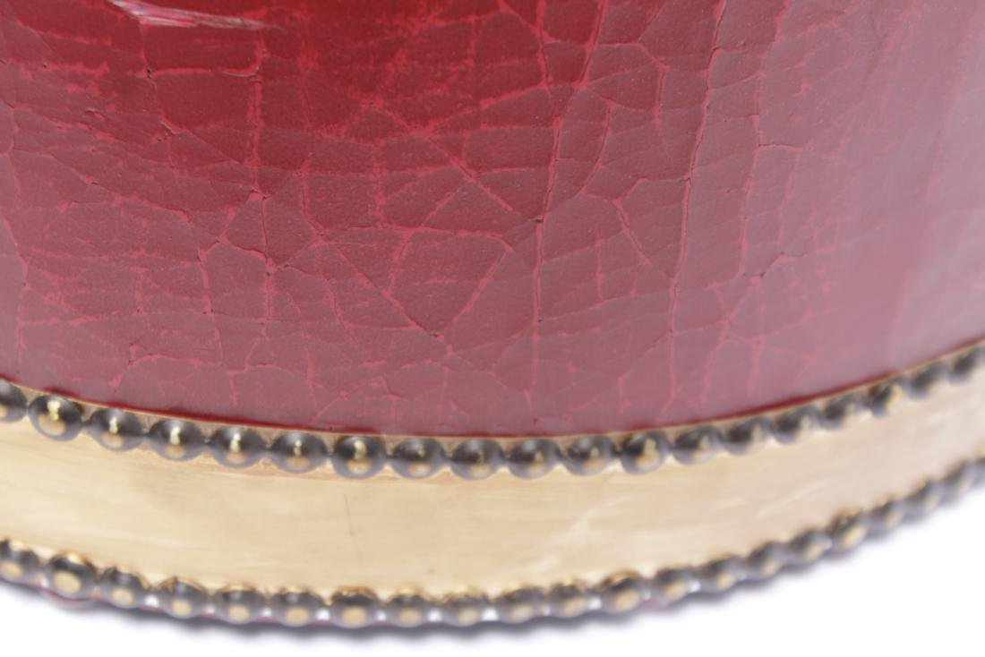 Red Drum Shaped Ottoman - 4