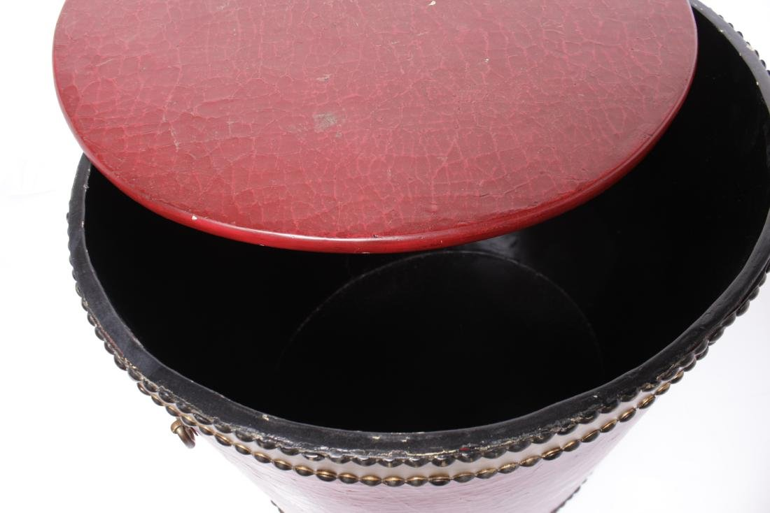 Red Drum Shaped Ottoman - 5