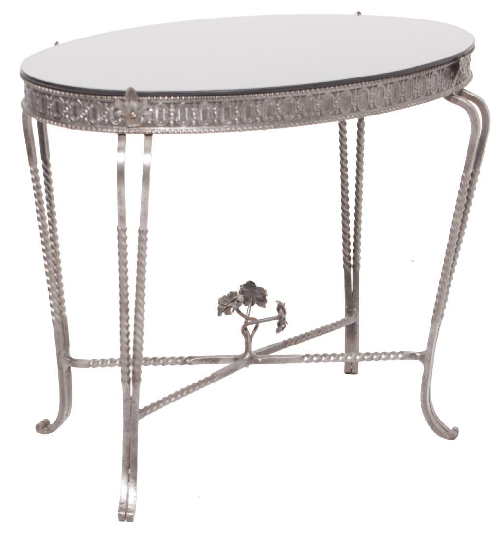 Deco Steel Table w/ Black Mirror Top