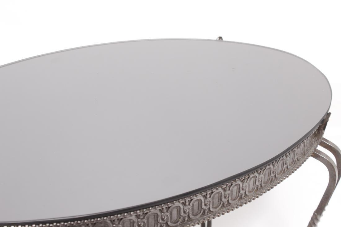 Deco Steel Table w/ Black Mirror Top - 5