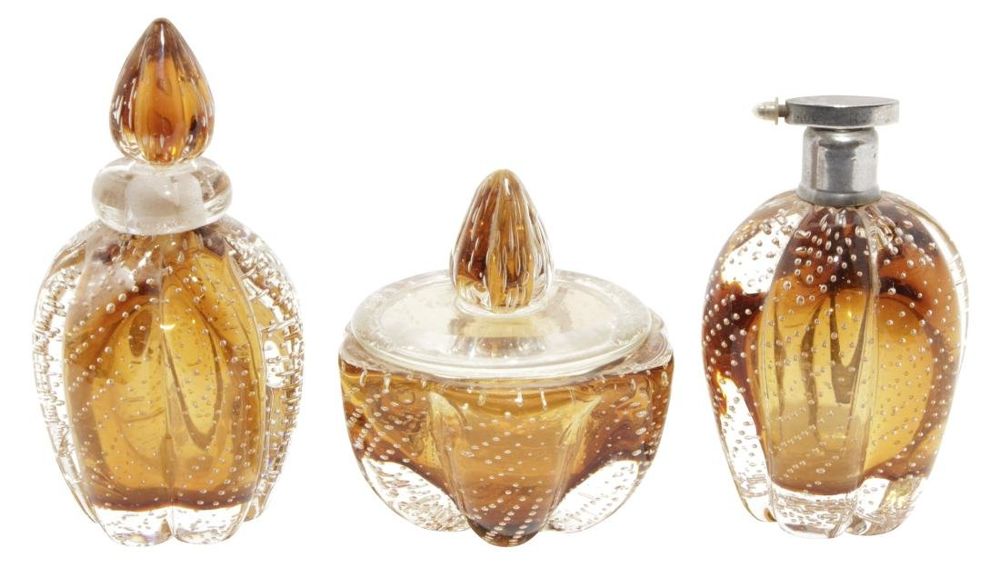 "Murano ""Controlled Bubble"" Amber Glass Dresser Set"