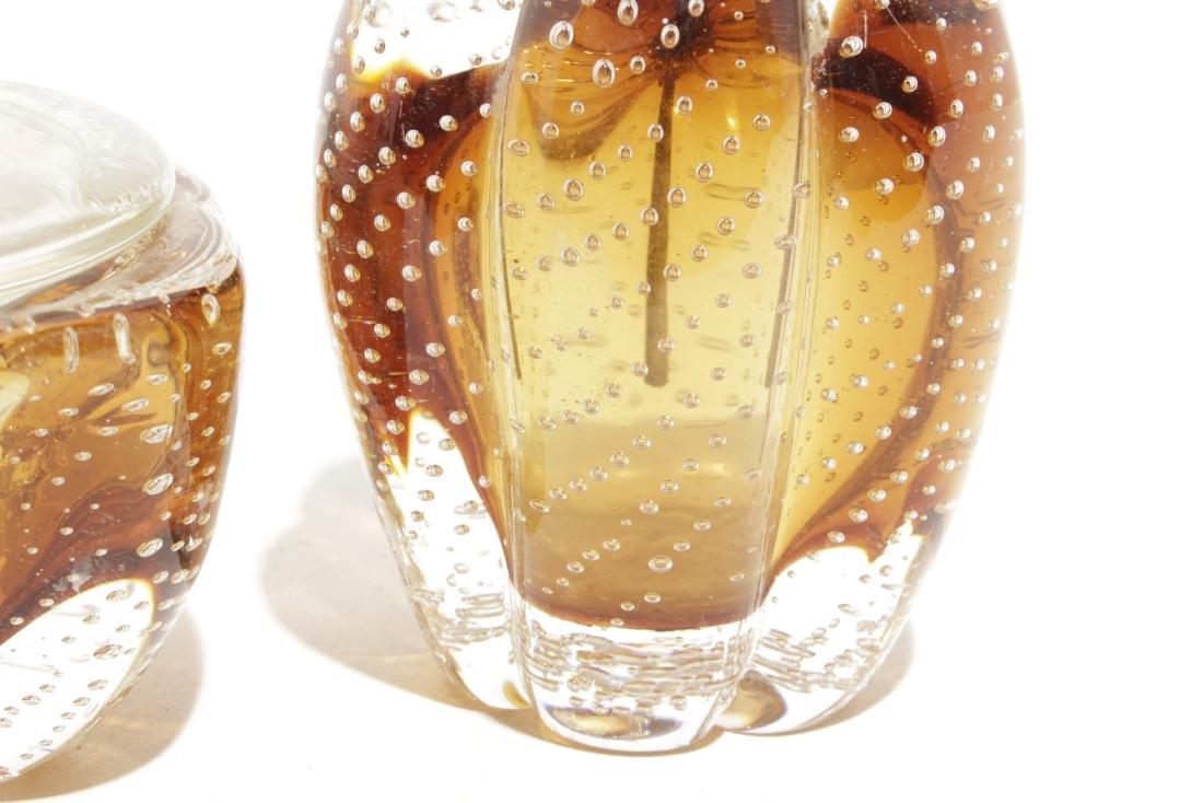 "Murano ""Controlled Bubble"" Amber Glass Dresser Set - 4"