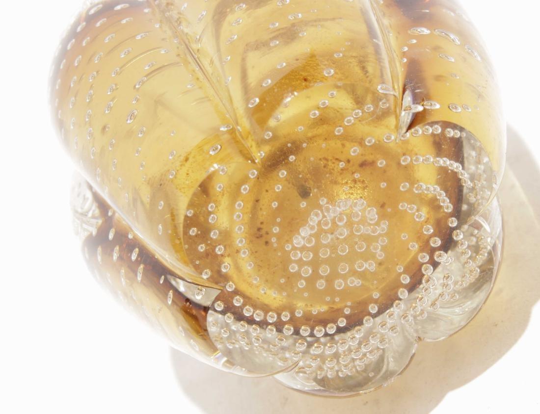 "Murano ""Controlled Bubble"" Amber Glass Dresser Set - 8"