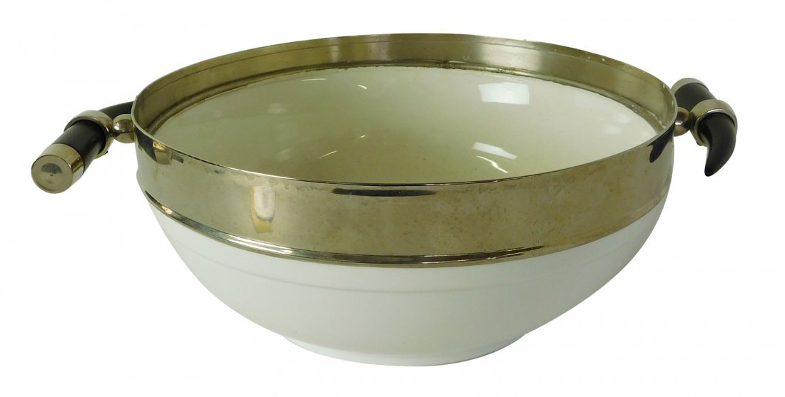 White Ceramic Metal Bowl
