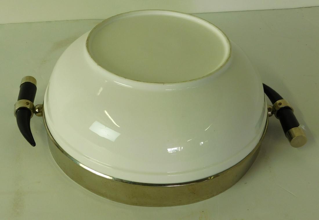 White Ceramic Metal Bowl - 4
