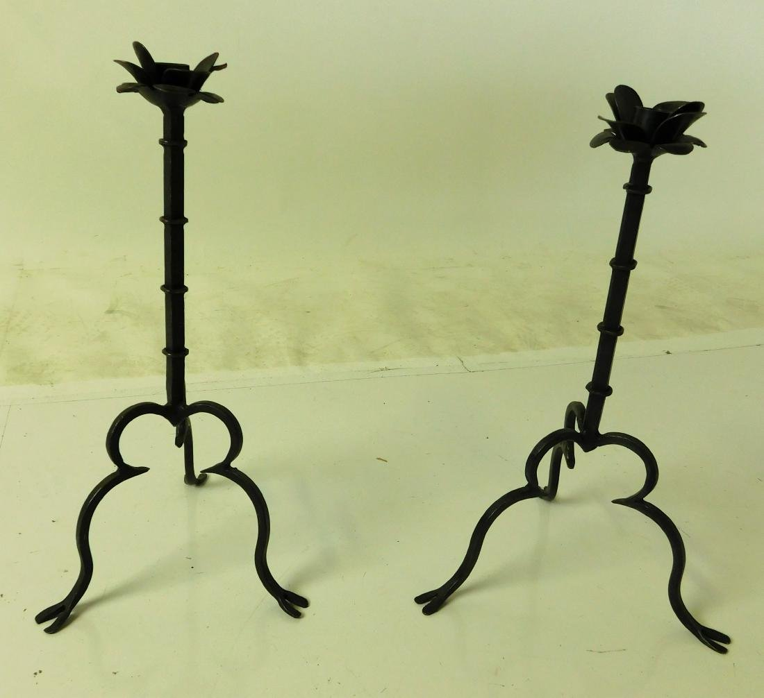 Wrought Iron Candlesticks - 5