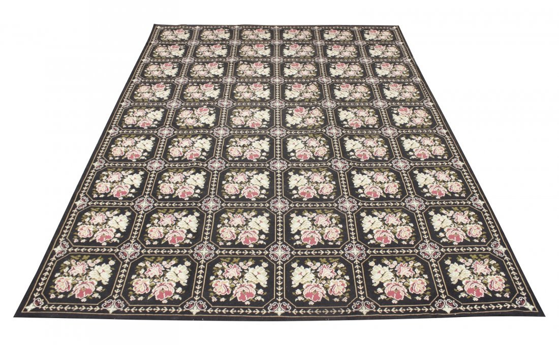 Large Victorian Style Hooked Rug