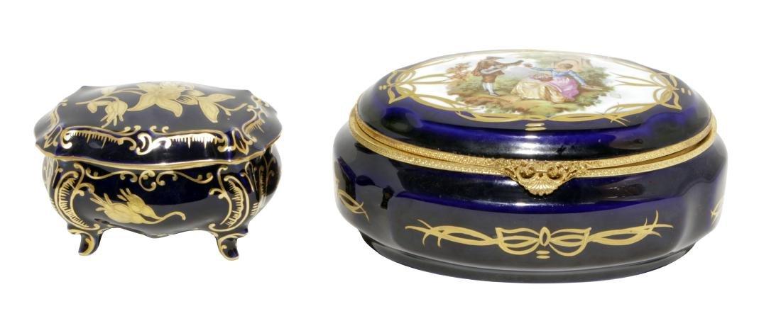Two Cobalt Porcelain Boxes