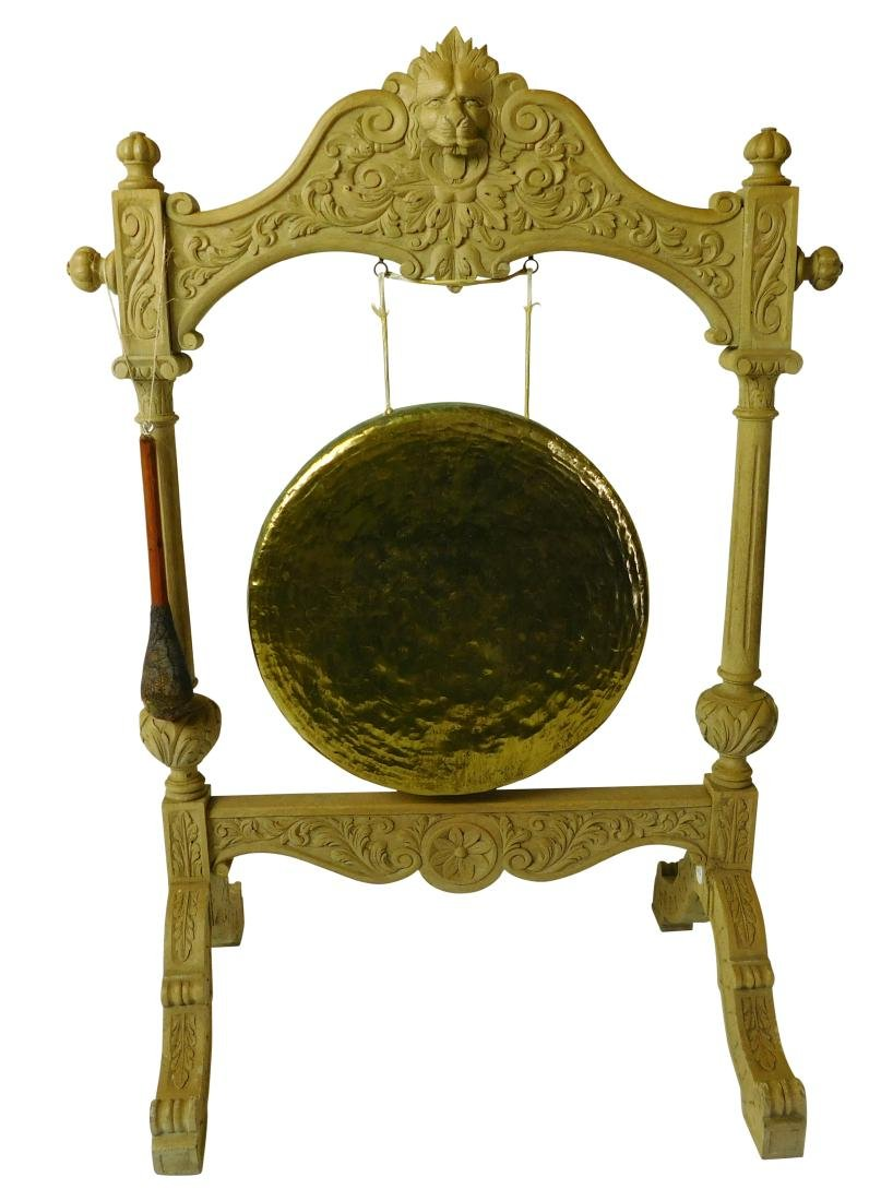 Oak and Brass Hanging Gong