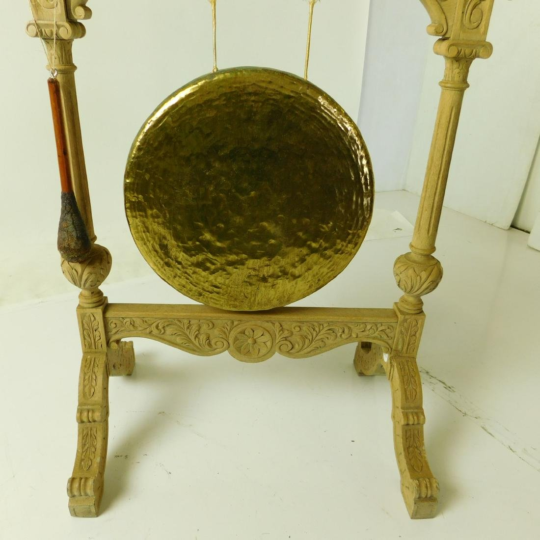 Oak and Brass Hanging Gong - 3