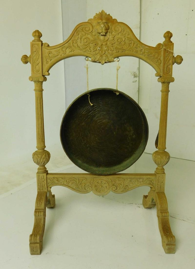 Oak and Brass Hanging Gong - 5