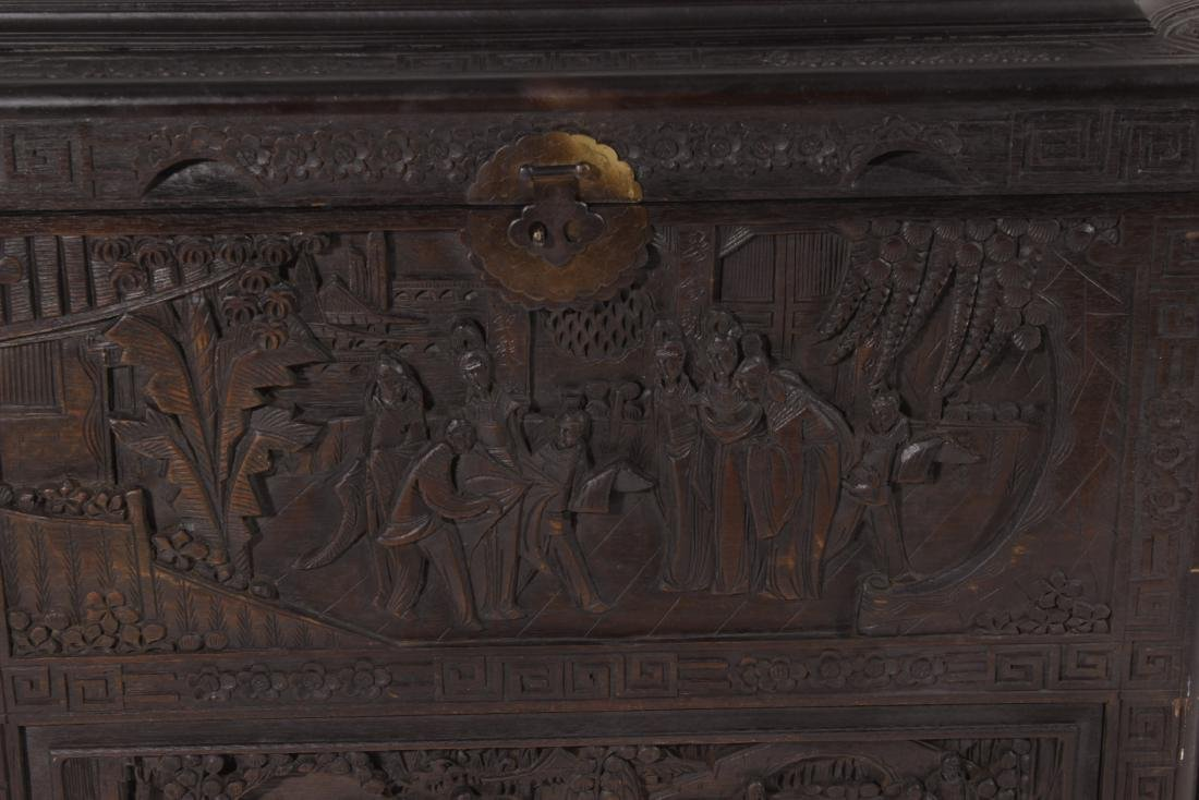 Chinese Carved Camphor Chest - 2
