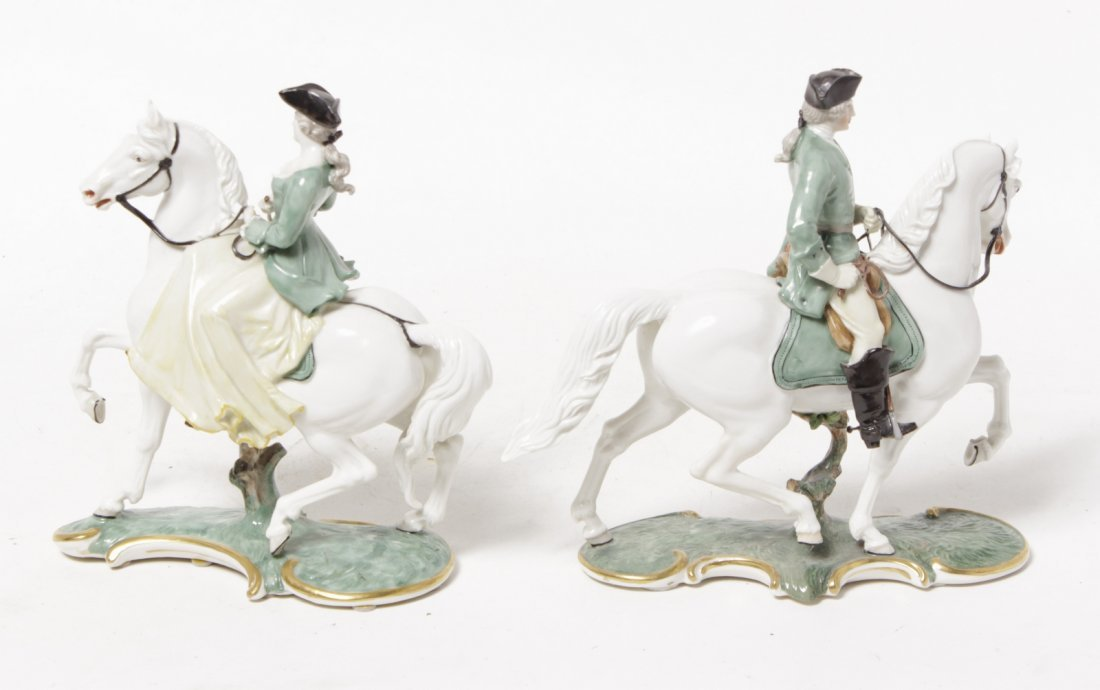 Pair of Porcelain Equestrian Figures - 10