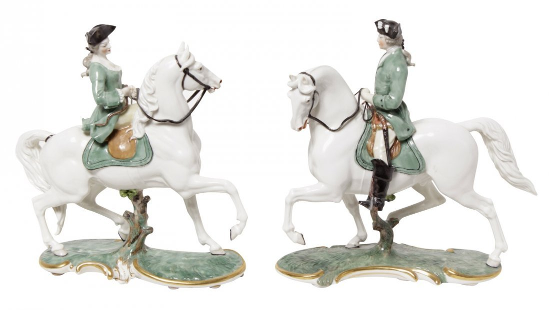 Pair of Porcelain Equestrian Figures