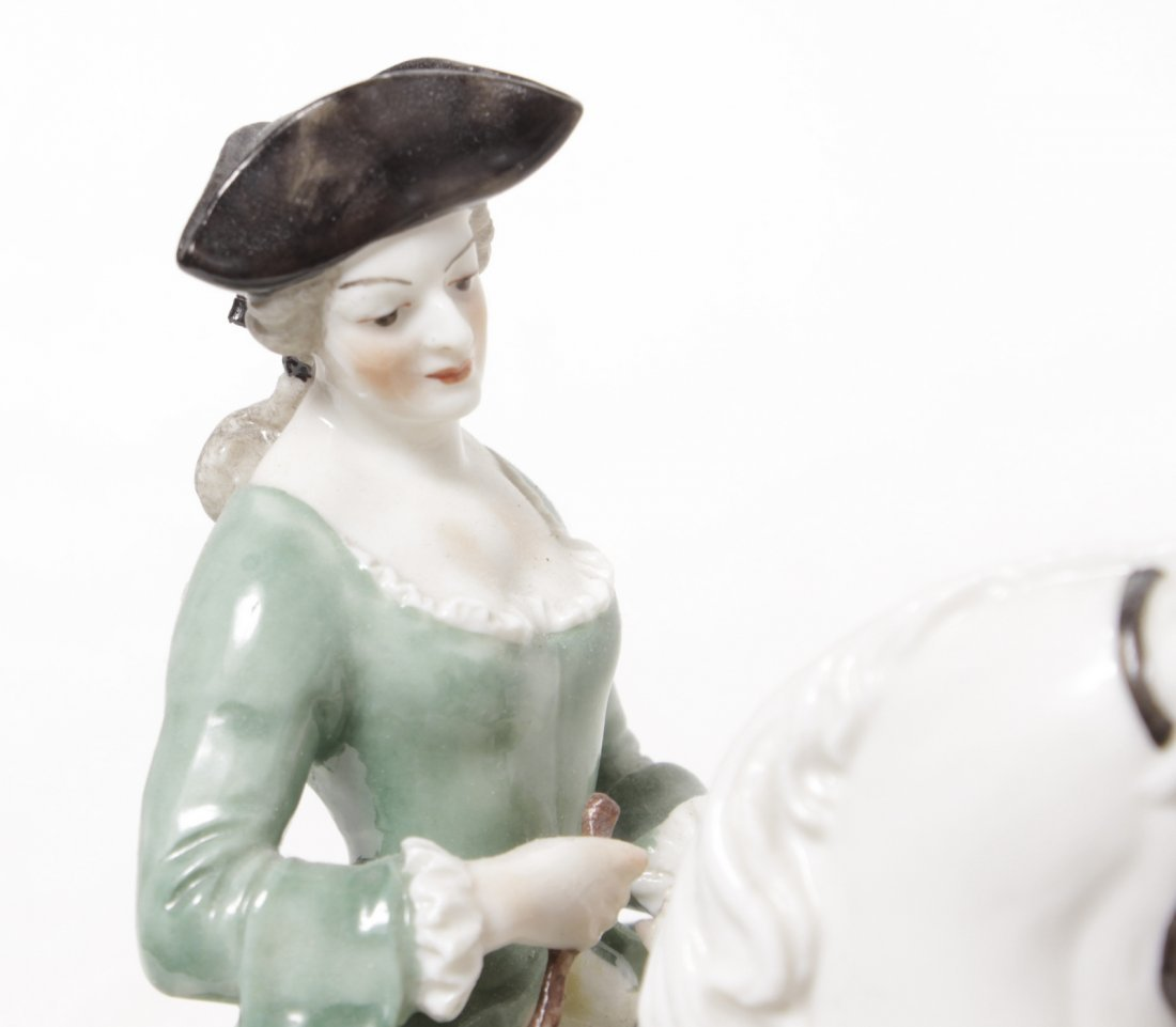 Pair of Porcelain Equestrian Figures - 2