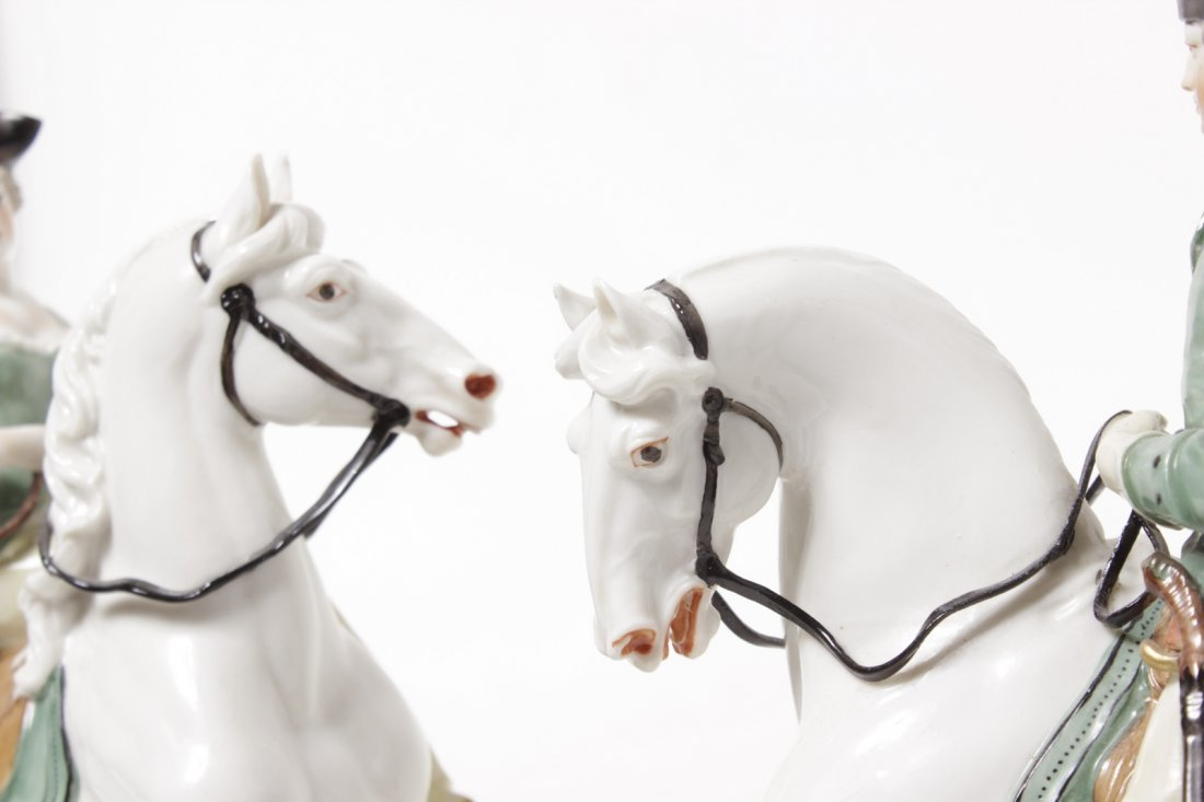 Pair of Porcelain Equestrian Figures - 4