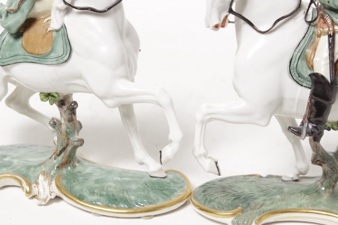 Pair of Porcelain Equestrian Figures - 5