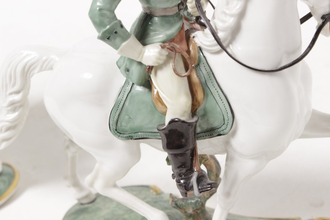Pair of Porcelain Equestrian Figures - 7