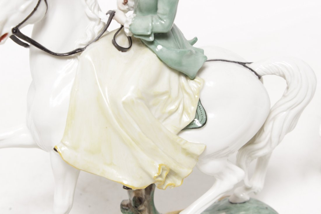 Pair of Porcelain Equestrian Figures - 8