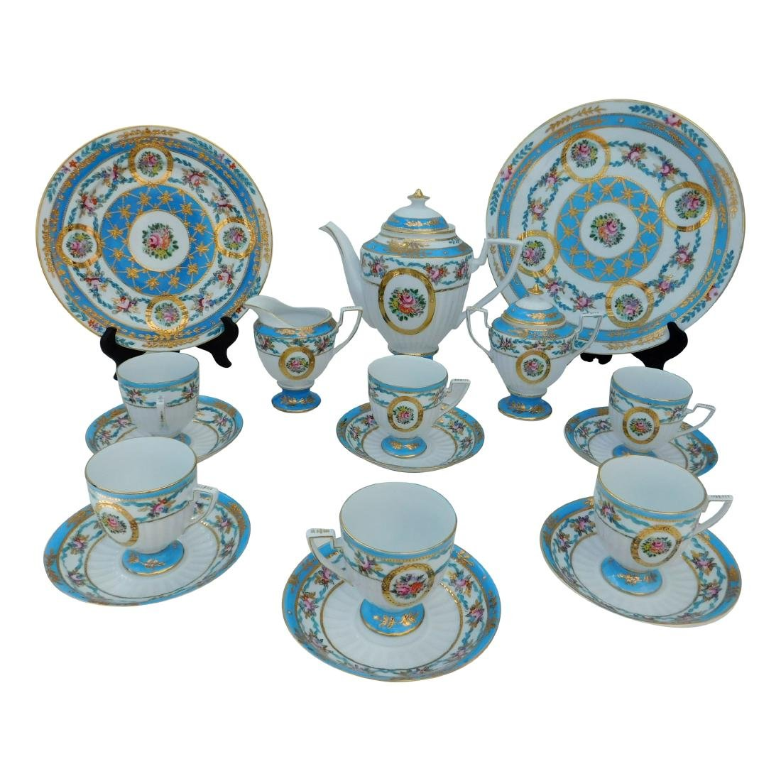 KPM Partial Coffee and Dessert Service In Turquois