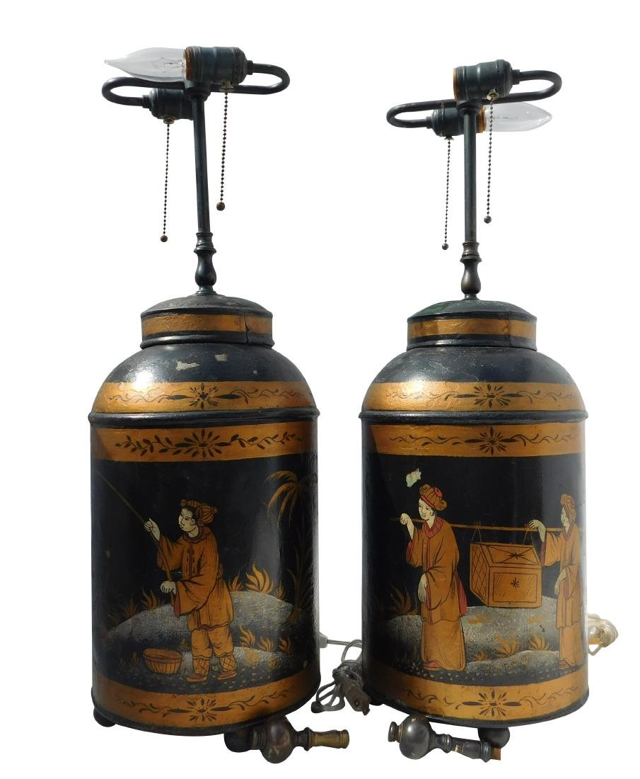 Pair 19 C. Tole Tea Canister Lamps