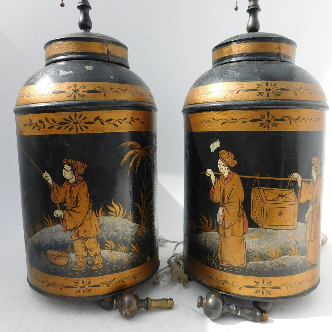 Pair 19 C. Tole Tea Canister Lamps - 2