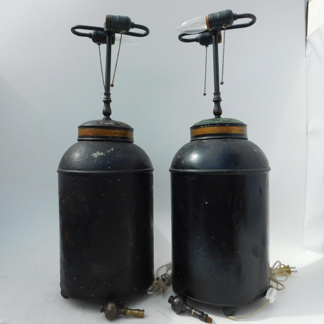 Pair 19 C. Tole Tea Canister Lamps - 4