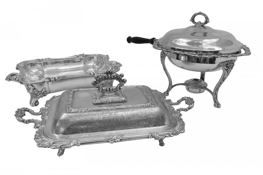 Three Silverplated Serving Dishes