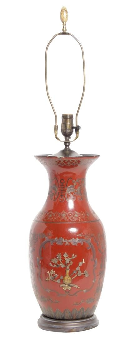 Chinese Red Lacquer Ware Lamp