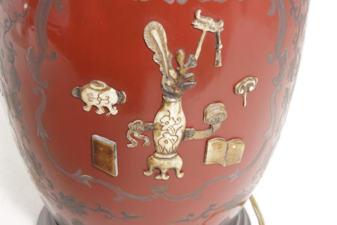Chinese Red Lacquer Ware Lamp - 5