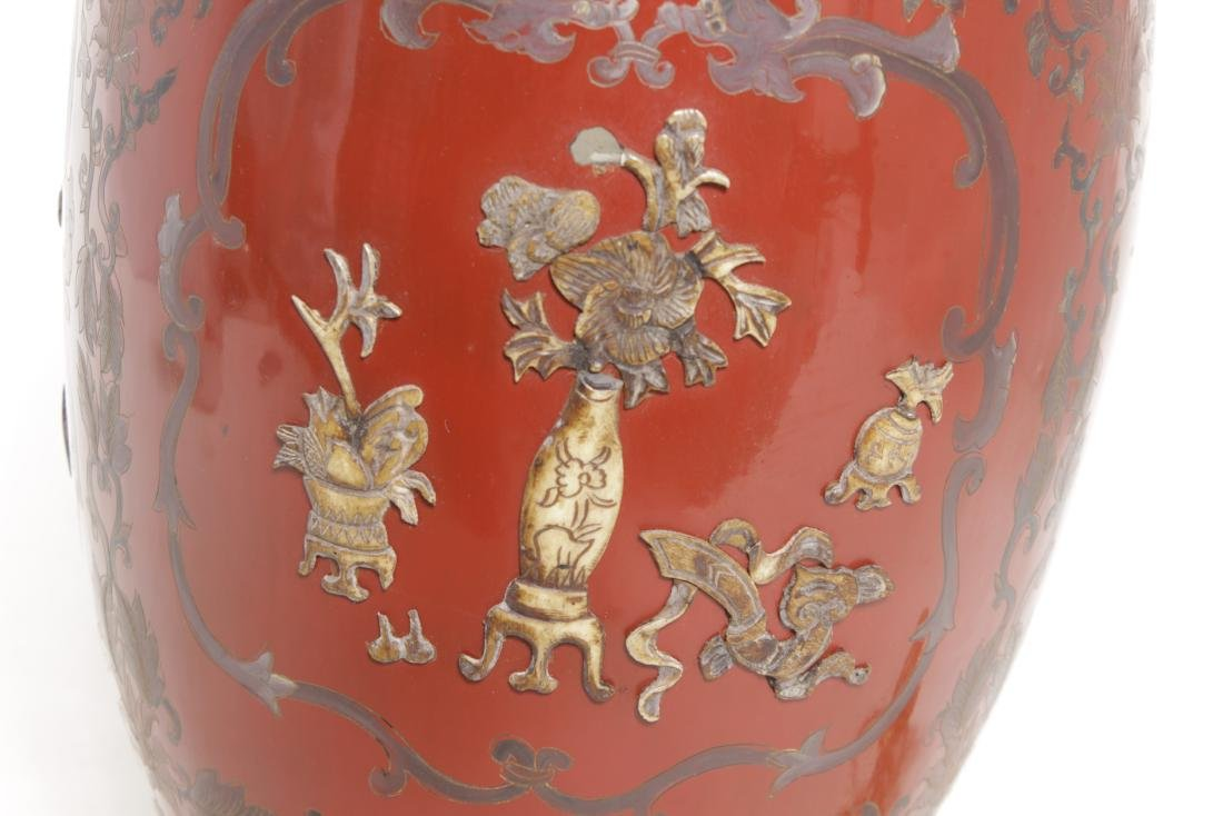 Chinese Red Lacquer Ware Lamp - 6