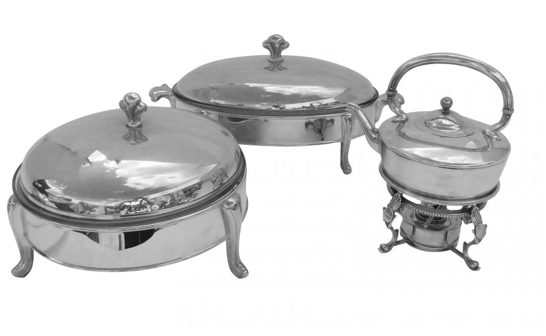 Miscellaneous Lot of three Silverplated Serving Di