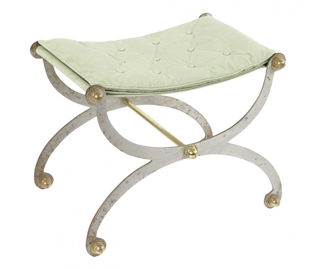 Curule Form Steel and Brass Bench