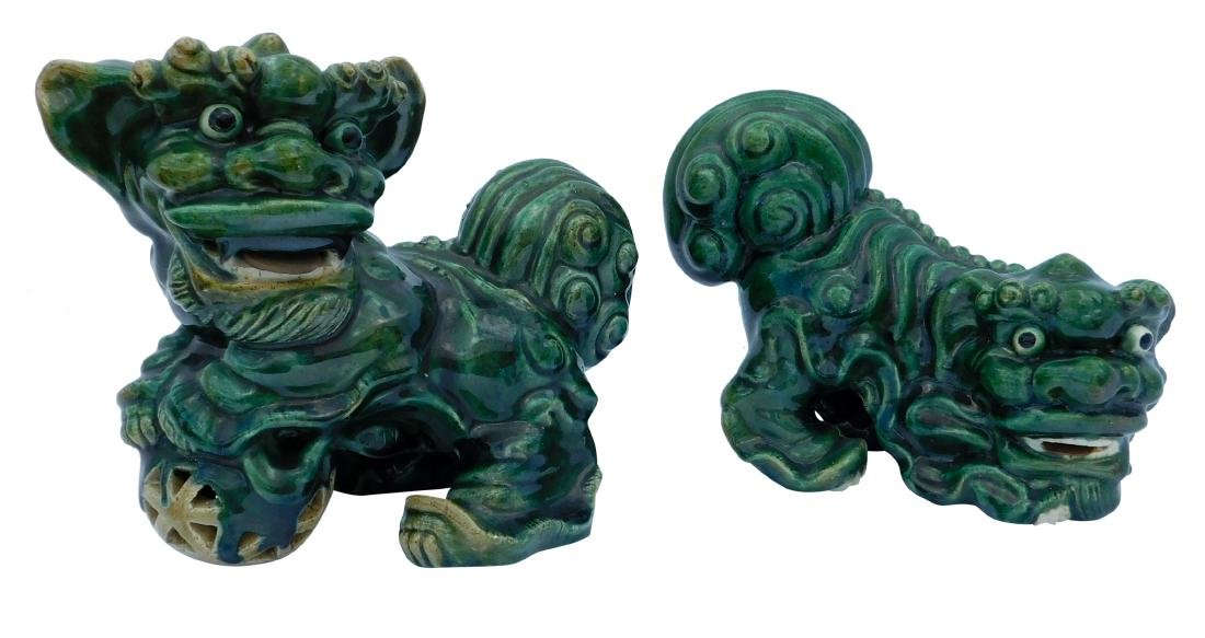 Pair Green Foo Dogs