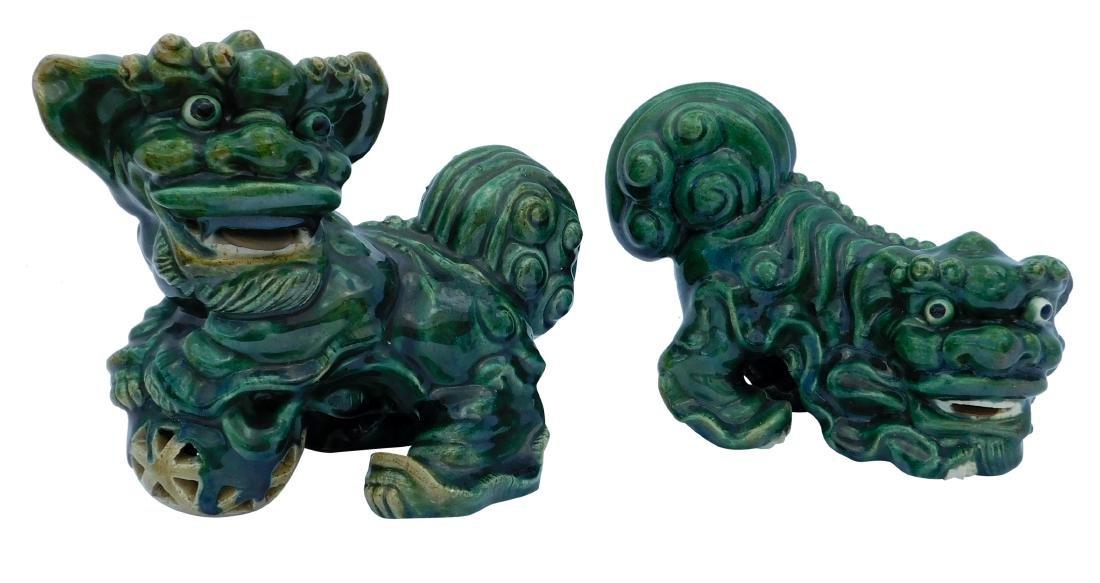Pair Green Foo Dogs