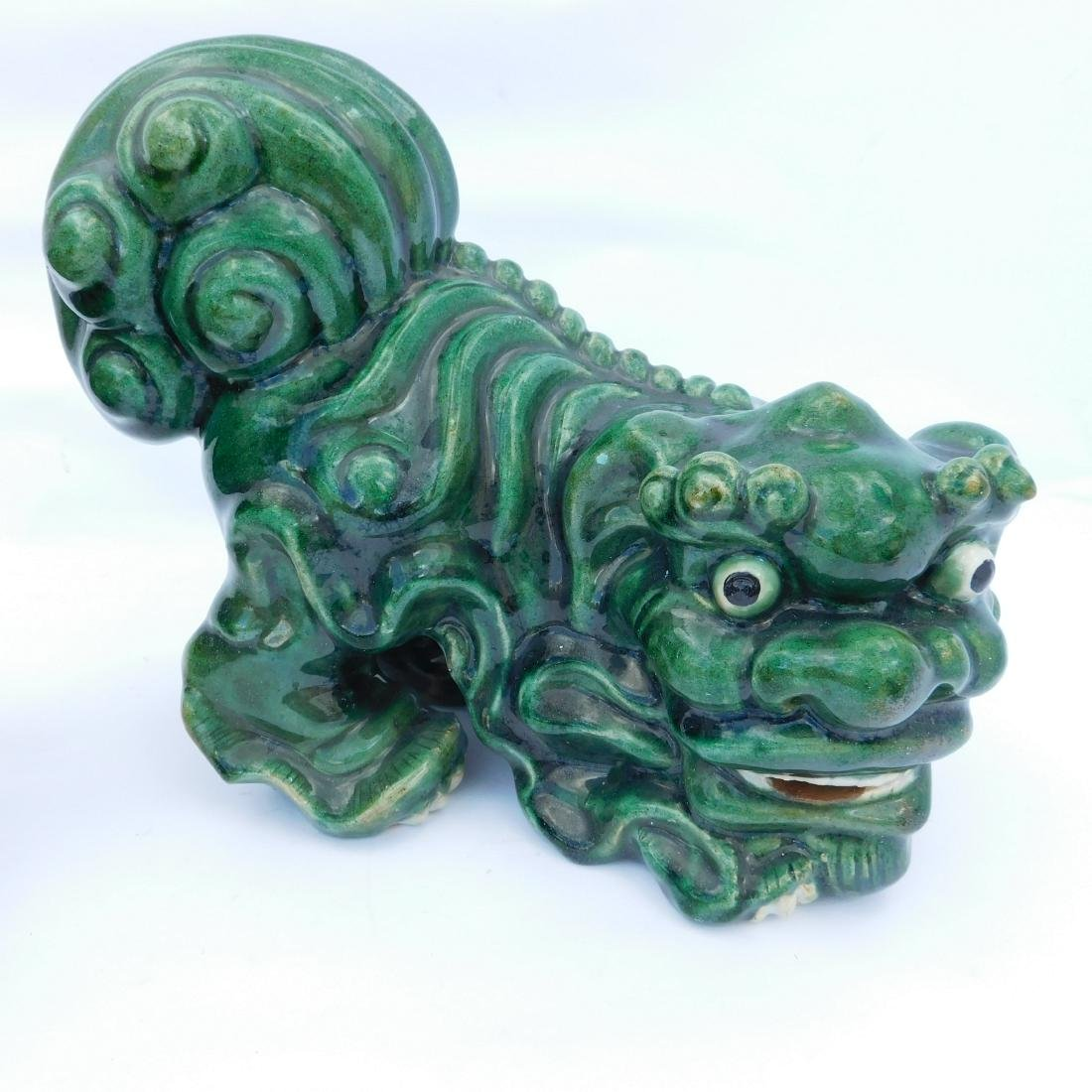 Pair Green Foo Dogs - 2
