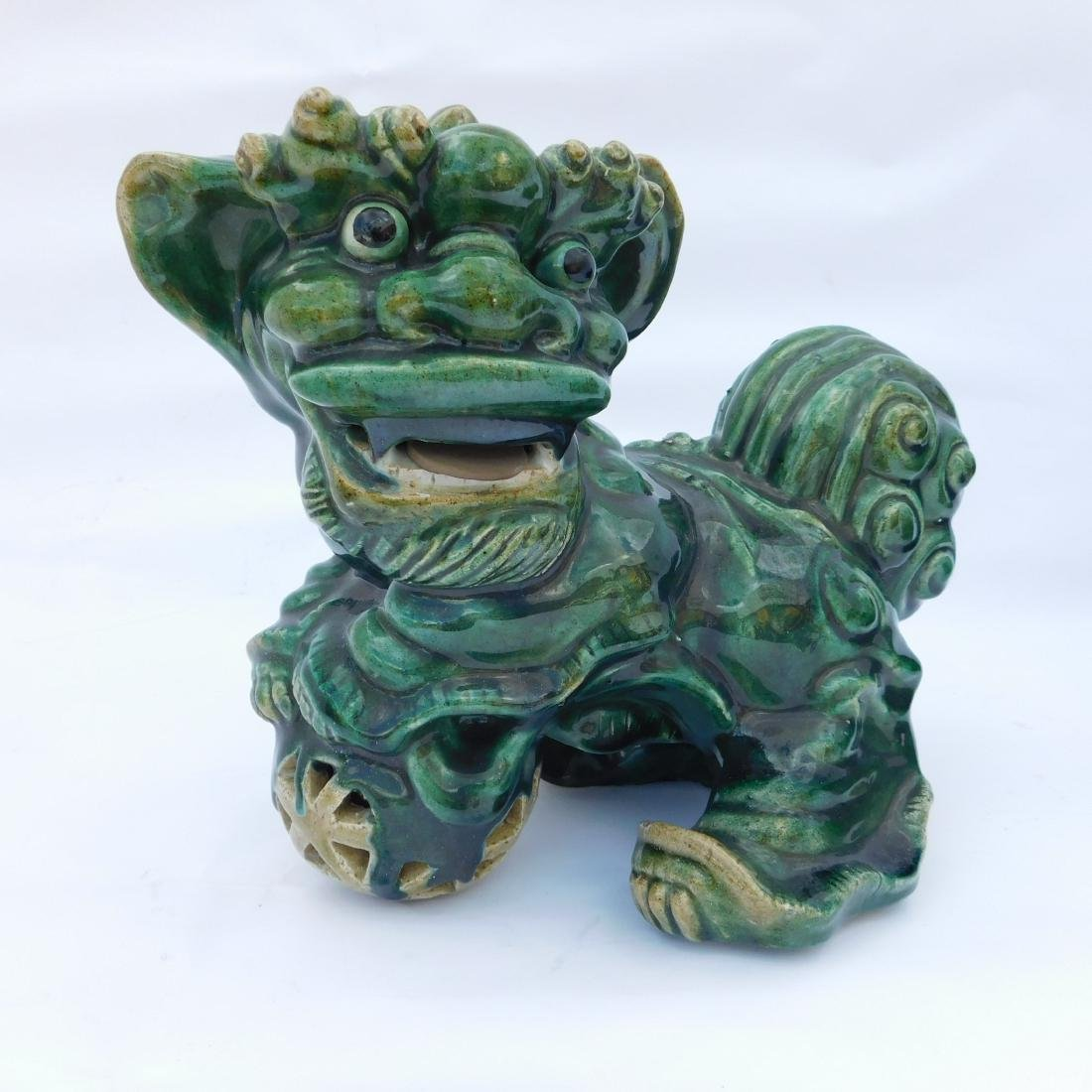 Pair Green Foo Dogs - 5