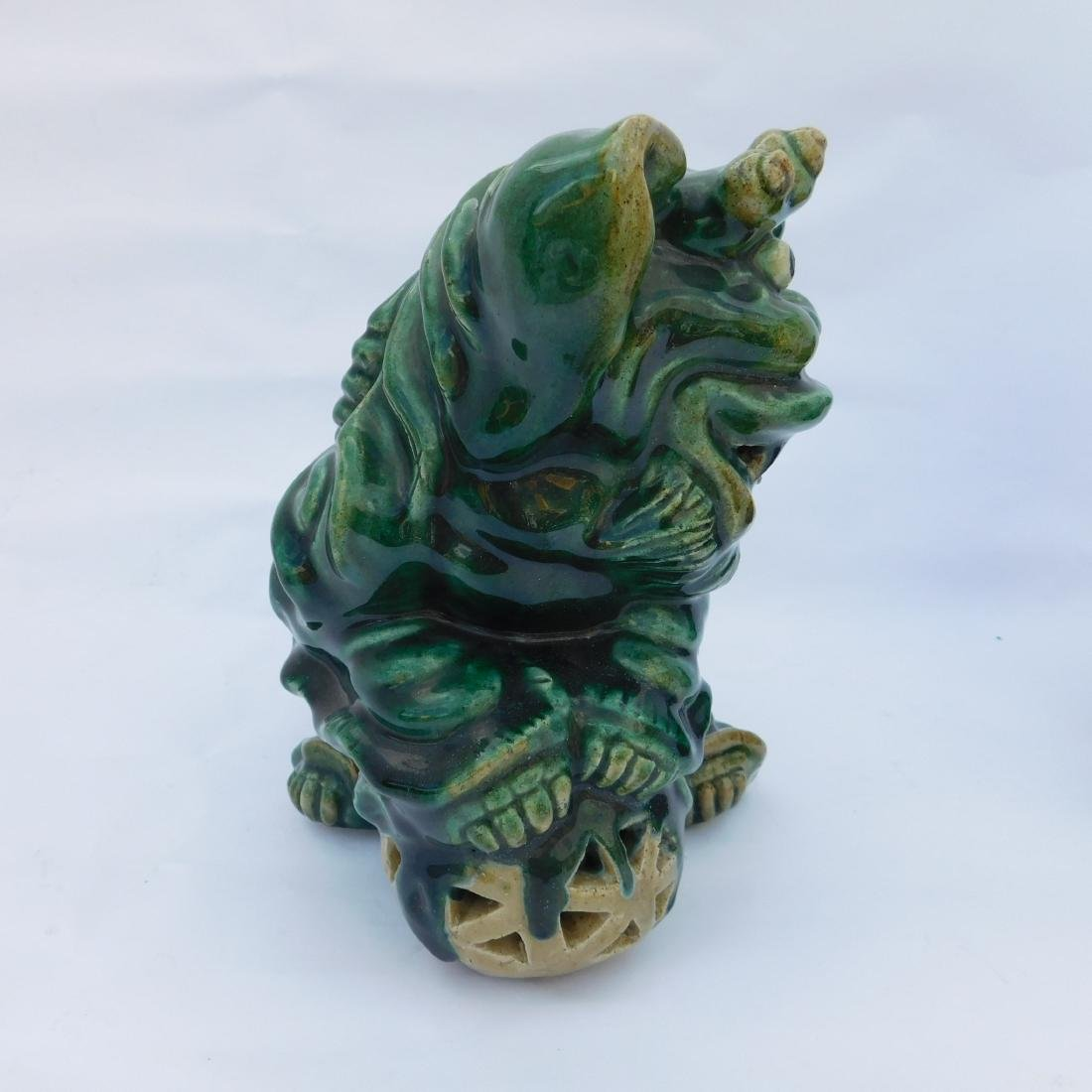 Pair Green Foo Dogs - 6